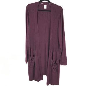 Deep purple open front long cardigan with pockets